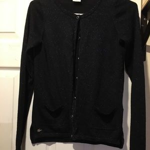 LACOSTE metallic cardigan with pockets